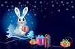 White rabbit with gifts