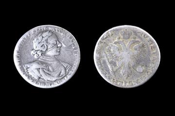 Серебренный рубль 1719 года, отчеканенного императором Петром I