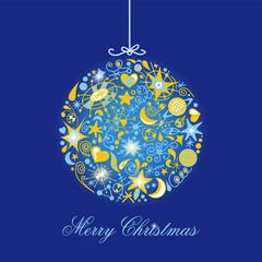tarjeta de navidad roja con azul y astros
