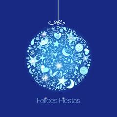tarjeta de navidad  azul y astros