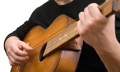 jazz guitar strings hand