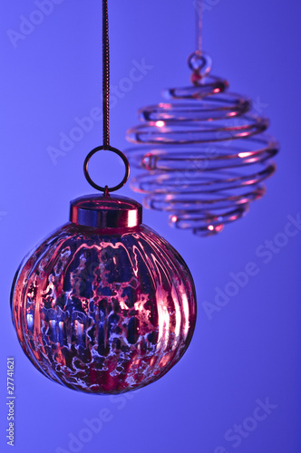 Christmas ornaments on blue background