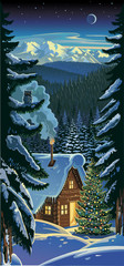 Christmas. Winter forest landscape.