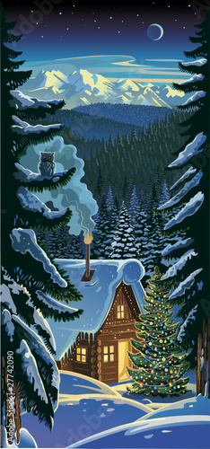 Christmas. Winter forest landscape.