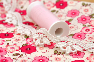 Lace on Floral Cloth