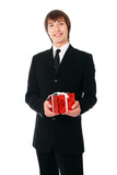 businessman with the red gift