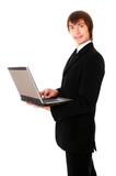 teenage businessman is working at notebook