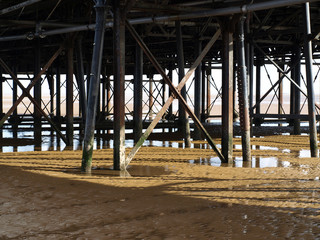 Steel girders holding up a pier