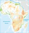 Afrika mit Höhenschichten