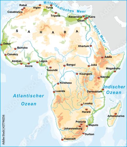 Afrika mit Städten