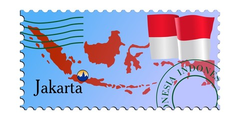 Jakarta - capital of Indonesia. Vector stamp