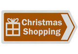 Photo realistic 'Christmas shopping' sign, isolated on white