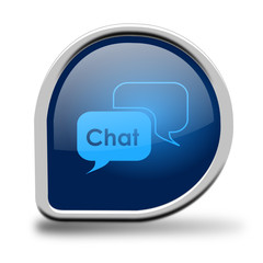 Button Chat blau Kreiseck