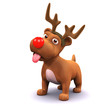 3d Small dog plays at being a reindeer