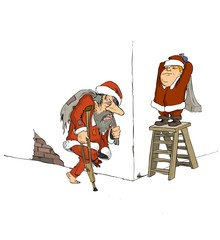 Santa Claus, cartoon, Christmas, old year