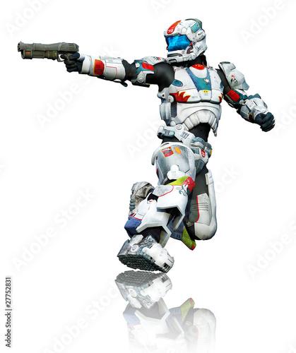 Fototapeta samoprzylepna astronaut hero with a gun kneel reflection