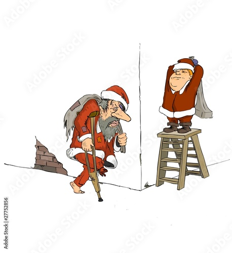 Santa Claus, cartoon, Christmas, old year