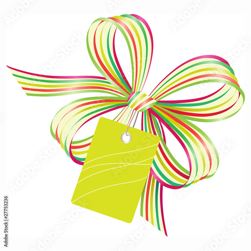 Festive bow with gift tag
