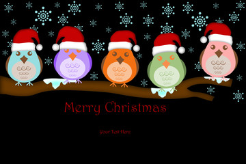 Five Birds with Santa Hat on Tree Branches