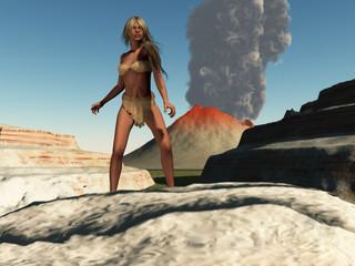 Cavegirl and volcano