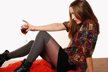 Party girl and red wine with copy space