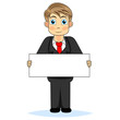 Cute boy businessman holding blank sign