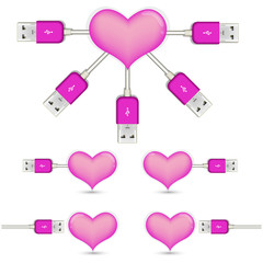 pink heart with Usb plug