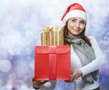Santa Woman with Christmas Gift Box