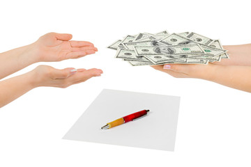 Hands with money and contract