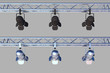 two stets of stage lights on grey background for easy cut-out