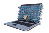 laptop computer with chains around screen isometric view