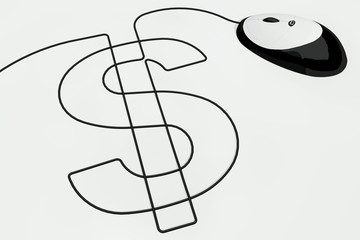 dollar sign written with a computer mouse wire