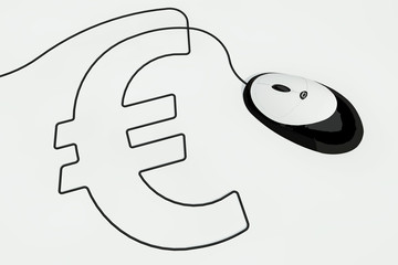 euro sign written with computer mouse wire