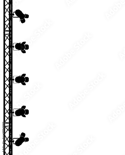 silhouette of spotlights on a white background
