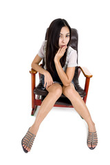 beautiful woman in a rocking chair