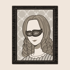 Masked victorian woman portrait in wood frame