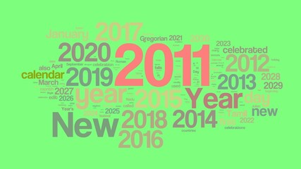New Year 2011 words collage animation