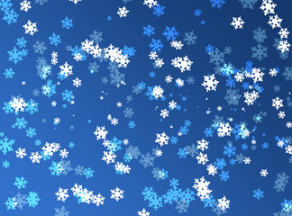 Blue christmas winter background with snowflakes