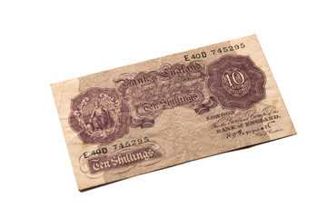 old, out of date ten shillings note
