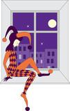vector sad harlequin sleeping on windowsill poster