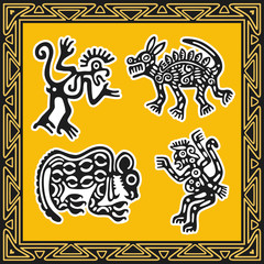 Set of ancient american indian patterns. Animals.