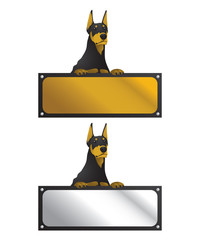 Doberman With Horizontal Sign Board