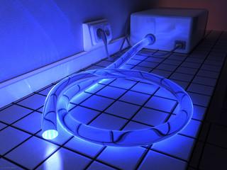 Lichtleiter mit großem Durchmessser und blauem Licht