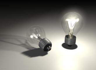 Glühbirnen klar, an und aus