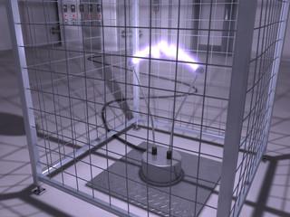Elektroden mit Lichtbogen inkl. Sicherheitsgitter und Trafo