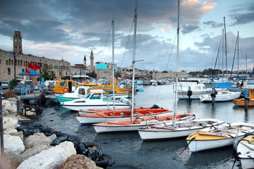 Classic Israel - old town and port in Acre also Akko in Western