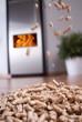 canvas print picture - wohnzimmer mit dänischem ofen und fliegenden pellets