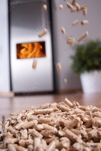 canvas print picture wohnzimmer mit dänischem ofen und fliegenden pellets