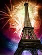 Quadro eiffel with fireworks