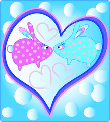 Two funny blue and pink bunny in big heart